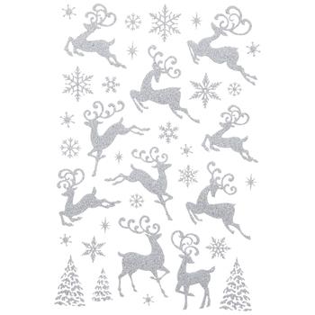 Silver Glitter Reindeer Stickers