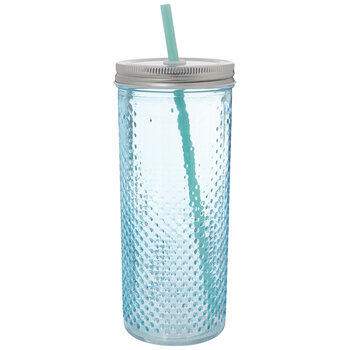 Blue Hobnail Glass Cup