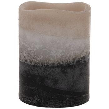 Tan, White & Black Layered LED Pillar Candle