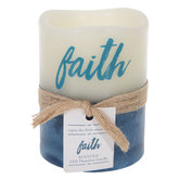 Faith Sea Salt & Driftwood LED Pillar Candle