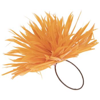 Tangerine Feather Pouf Napkin Ring