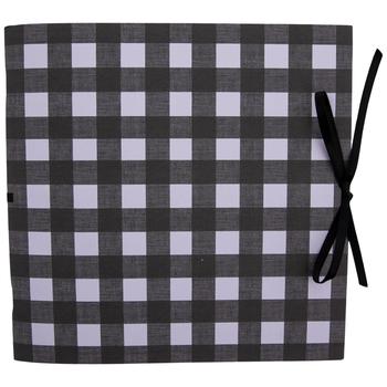 """Black & White Gingham Scrapbook Album - 8"""" x 8"""""""