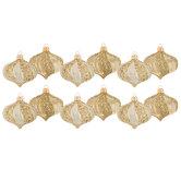 Gold Striped Onion Ornaments