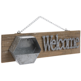 Welcome Galvanized Metal Wall Decor With Hexagon Container