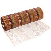 "Fall Striped Metallic Deco Mesh Ribbon - 10"""