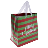 Red & Green Striped Merry Christmas Gift Bag