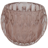 Pink Geometric Glass Candle Holder