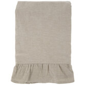 Beige Chambray Ruffle Tablecloth