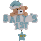 Blue Bear Baby's First Christmas Ornament