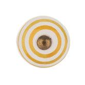 Yellow & White Striped Round Knob