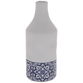 White & Blue Floral Tile Vase