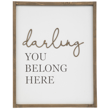 Darling You Belong Here Wood Wall Decor