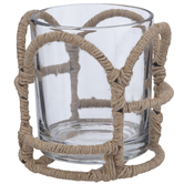 Jute Wrapped Glass Candle Holder