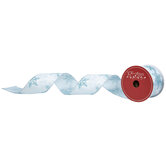 "White & Blue Glitter Snowflakes Wired Edge Ribbon - 2 1/2"""