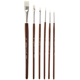 White Nylon Paint Brushes - 6 Piece Set