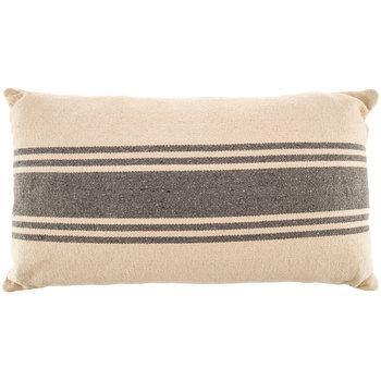Cream & Gray Striped Pillow