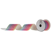 Pastel Gradient Cut Edge Glitter Ribbon - 2 1/2""