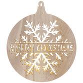 Light Up Wood Merry Christmas Ornament