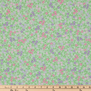Lime Floral Cotton Calico Fabric