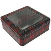 Plaid Square Tin Box
