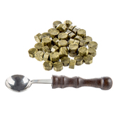 Gold Wax Beads & Spoon