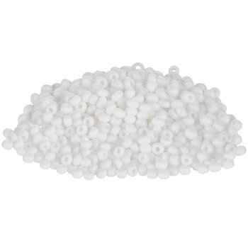 Opaque White Czech Glass Seed Beads - 8/0