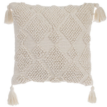 Ivory Pillow With Tassels