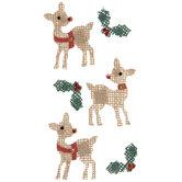 Holly & Reindeer Burlap Stickers