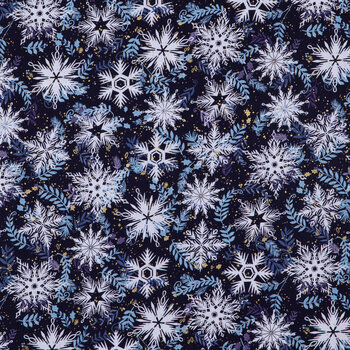 Blue, Gold & White Snowflakes Cotton Fabric