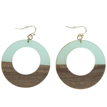 Wood Grain Hoop Earrings