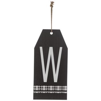 Plaid Tag Letter Wood Wall Decor - W