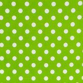 Lime & White Polka Dot Cotton Calico Fabric