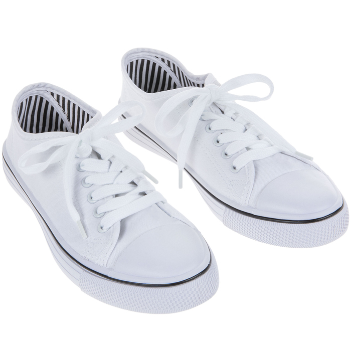 White Canvas Women's Sneakers - Size 10
