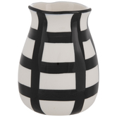 White & Black Grid Vase