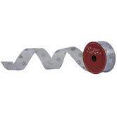 "Silver Glitter Polka Dot Wired Edge Sheer Ribbon - 1 1/2"""