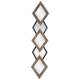 Whitewash Diamonds Wood Wall Mirror