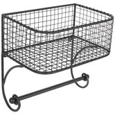 Gray Metal Wall Basket With Rod