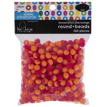 Fluorescent Pink & Orange Round Plastic Beads