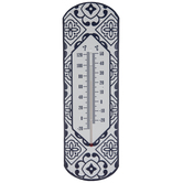 White & Blue Tile Metal Thermometer