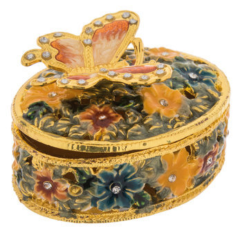 Oval Butterfly Jewelry Box