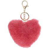 Hot Pink Fuzzy Heart Keychain