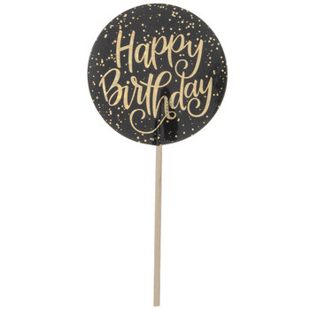 Gold Glitter Happy Birthday Cupcake Toppers