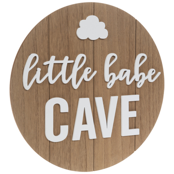 Little Babe Cave Circle Plank Wood Wall Decor