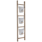 Ladder Wood Wall Decor With Buckets