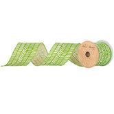 "Green & Cream Zig Zag Chevron Wired Edge Ribbon - 2 1/2"""