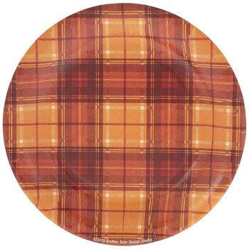 Orange Plaid Paper Plates - Large