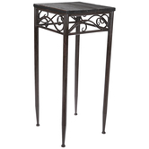 Swirling Brown Square Metal Plant Stand