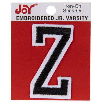 """Black Junior Varsity Letter Iron-On Applique Z - 2"""""""