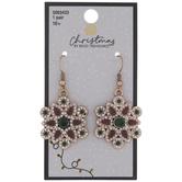 Ornate Rhinestone Flower Earrings