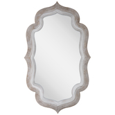Whitewash Quatrefoil Wood Wall Mirror